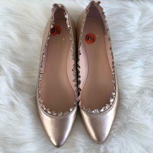 Kate Spade metallic rosegold flats 9.5